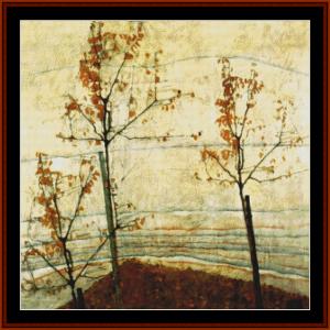 autumn trees - schiele cross stitch pattern by cross stitch collectibles