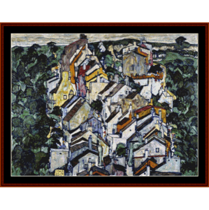 the old city iii - schiele cross stitch pattern by cross stitch collectibles