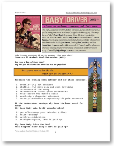 baby driver, whole-movie english (esl) lesson