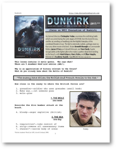 dunkirk, whole-movie english (esl) lesson