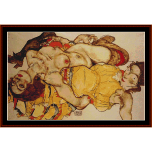 two girls entwined - schiele cross stitch pattern by cross stitch collectibles