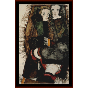 two girls on fringed blanket - schiele cross stitch pattern by cross stitch collectibles