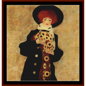 woman with black hat - schiele cross stitch pattern by cross stitch collectibles