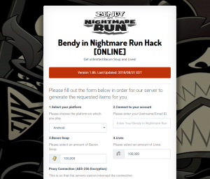 *99999 bacon soup* bendy in nightmare run hack cheats mod for android & ios