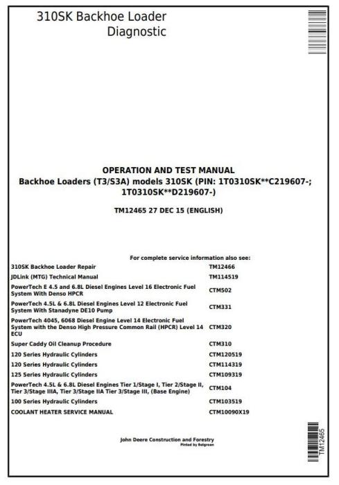 John Deere 310SK (T3/S3A) Backhoe Loader (SN: D219607-) Diagnostic and Test  Service Manual (TM12465)
