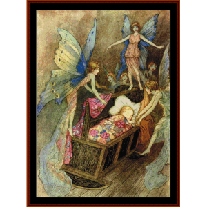 hush little baby - fantasy cross stitch pattern by cross stitch collectibles