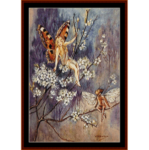 dogwood fairies - fantasy cross stitch pattern by cross stitch collectibles
