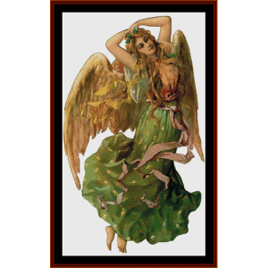 angel in green - fantasy cross stitch pattern by cross stitch collectibles
