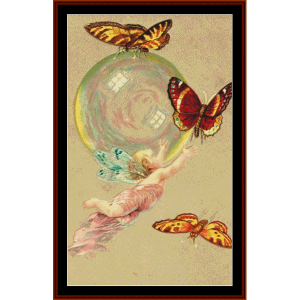 butterfly fairy i - fantasy cross stitch pattern by cross stitch collectibles