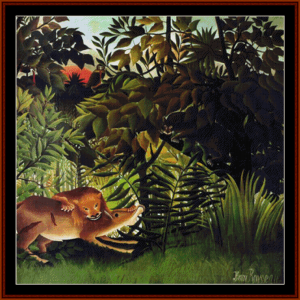 lion devouring its prey - rousseau cross stitch pattern by cross stitch collectibles