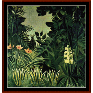 the equatorial jungle - rousseau cross stitch pattern by cross stitch collectibles