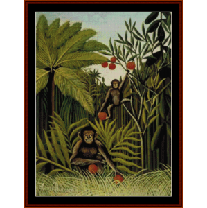 monkeys in the jungle - rousseau cross stitch pattern by cross stitch collectibles