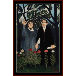 muse inspiring the poet - rousseau cross stitch pattern by cross stitch collectibles