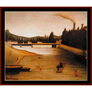 bathing at alfortville - rousseau cross stitch pattern by cross stitch collectibles