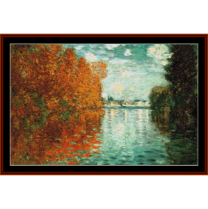 autumn effect at argenteuil - monet cross stitch pattern by cross stitch collectibles