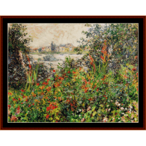flowers at vetheuil - monet cross stitch pattern by cross stitch collectibles