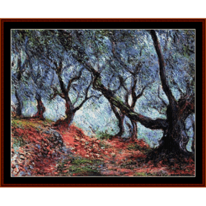 olive trees in bordighera - monet cross stitch pattern by cross stitch collectibles
