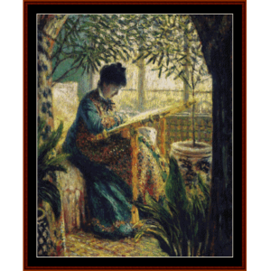 madame monet embroidering - monet cross stitch pattern by cross stitch collectibles