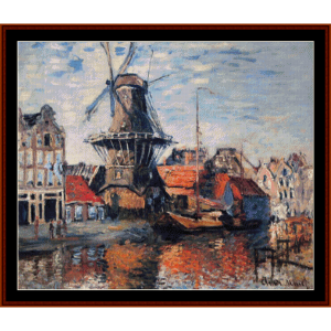 windmill on onbekende canal - monet cross stitch pattern by cross stitch collectibles