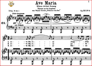 "ave maria, ""ellens gesang iii"", d. 839,.low voice in g major (alto/bass) f. schubert. c.f. peters (friedl.) a5 (landscape)"