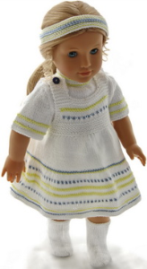 dollknittingpattern 0193d sue - summer skirt, short-sleeved sweater, pants, hairband and socks-(english)