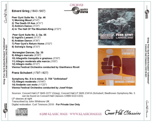 """First Additional product image for - Grieg: Peer Gynt Suites 1&2; Schubert Sym. No 8 """"Unfinished"""" - Vienna Festival Orchestra"""