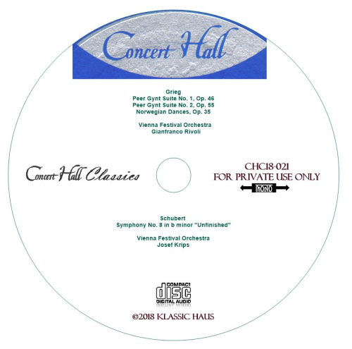 """Third Additional product image for - Grieg: Peer Gynt Suites 1&2; Schubert Sym. No 8 """"Unfinished"""" - Vienna Festival Orchestra"""