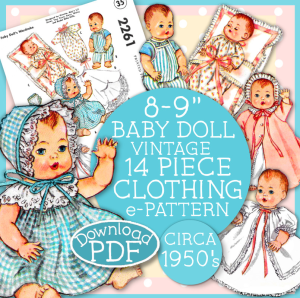 8-9 inch baby doll clothing ginnette 2261 e-pattern