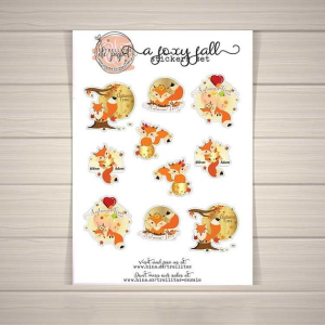 printable fall stickers, cartoon stickers, fox, moon, leaves, foiled, golden