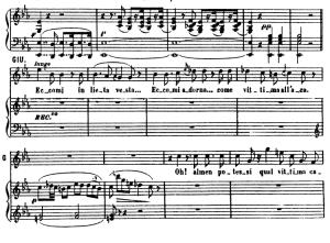 eccomi in lieta vesta...o quante volte ti chiedo. recitative and aria for soprano (giulietta). v. bellini: i capuletti e i montecchi,  act i sc.2. vocal score, ed. ricordi (pd). italian. sheet music (a4)