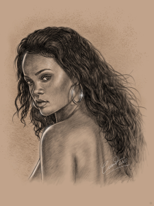 rihanna digital drawing