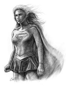 supergirl digital drawing