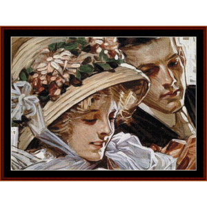 in her easter bonnet - leyendecker cross stitch pattern by cross stitch collectibles