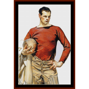 football player, 1913 - leyendecker crross stitch pattern by cross stitch collectibles