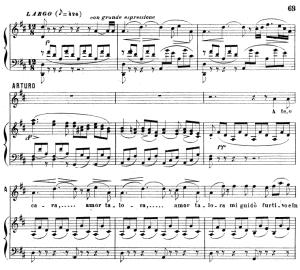 a te, o cara: aria for tenor (arturo). v. bellini: i puritani, act i sc.3. vocal score, ed. ricordi (pd). italian(a4)