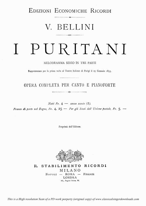 First Additional product image for - Son salvo...La mia canzon d'amore: Recitative and Aria for Tenor (Arturo). V. Bellini: I puritani, Act III Sc.1. Vocal Score, Ed. Ricordi (PD). Italian.(A4)