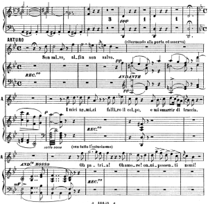 son salvo...la mia canzon d'amore: recitative and aria for tenor (arturo). v. bellini: i puritani, act iii sc.1. vocal score, ed. ricordi (pd). italian.(a4)