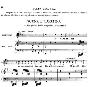 nel furor delle tempeste: aria for tenor (gualtiero). v. bellini: il pirata, act i sc.2. vocal score, ed. ricordi (pd). 7 pp. italian. (a4)