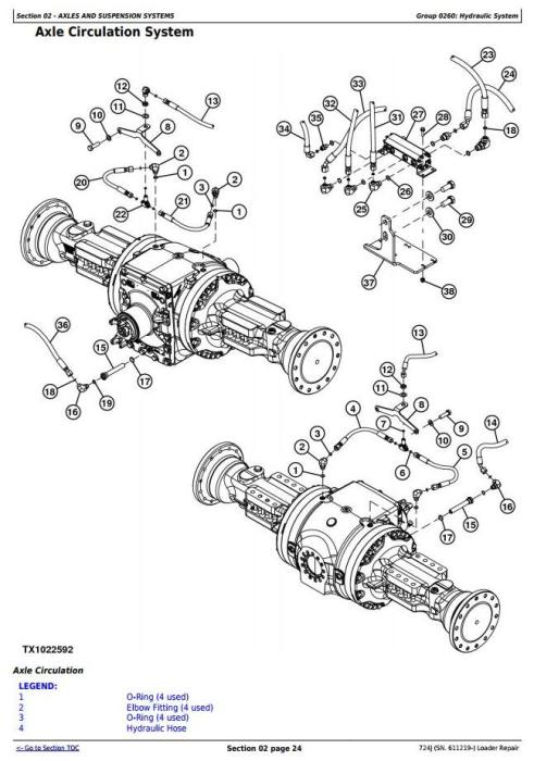 John Deere 724J (SN. 611219-) 4WD Loader Service Repair