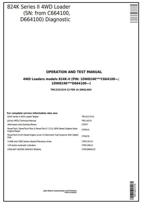First Additional product image for - John Deere 824K Series II 4WD Loader (SN:from C664100,D664100) Diagnostic & Test Manual (TM13221X19)