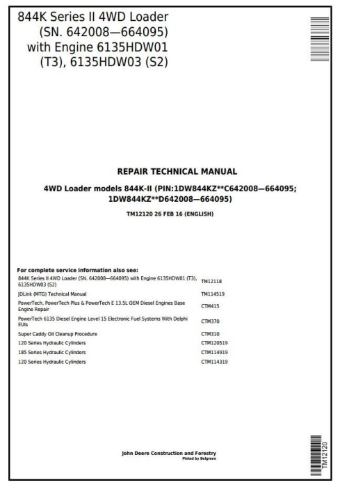 First Additional product image for - John Deere 844K Series II(T2/S2 Engines) 4WD Loader(SN.642008—664095) Service Repair Manual(TM12120)