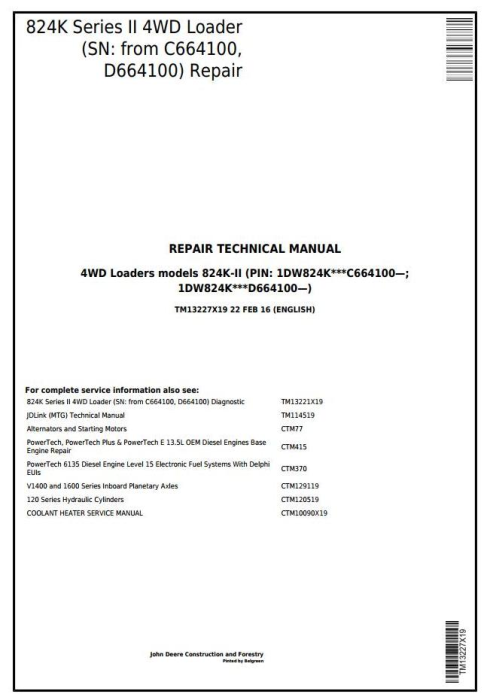 First Additional product image for - John Deere 824K Series II (SN: from C664100, D664100) 4WD Loader Service Repair Manual (TM13227X19)