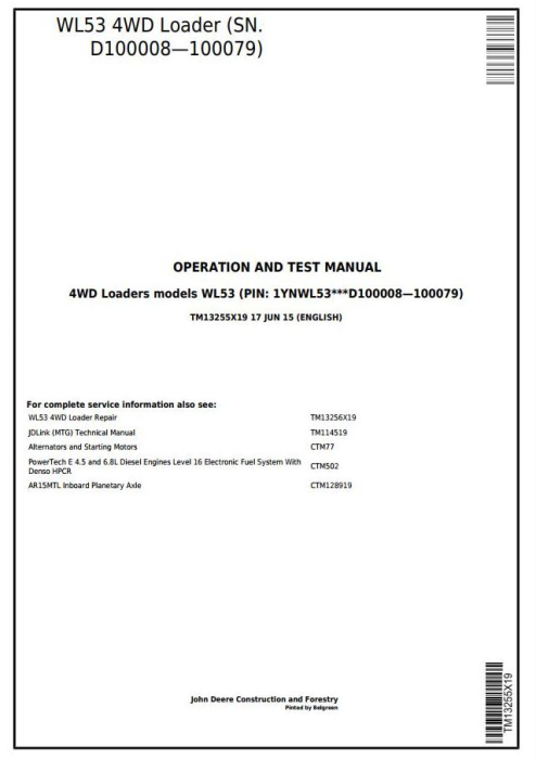 First Additional product image for - John Deere WL53 4WD Loader(SN.D100008—100079) Diagnostic, Operation&Test Service Manual (TM13255X19)