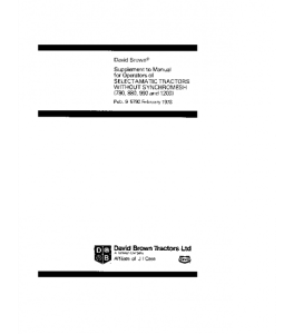 Case Ih David Brown 780 880 990 1200 Selectamatic Tractor Supplement Operators Manual Download | eBooks | Automotive