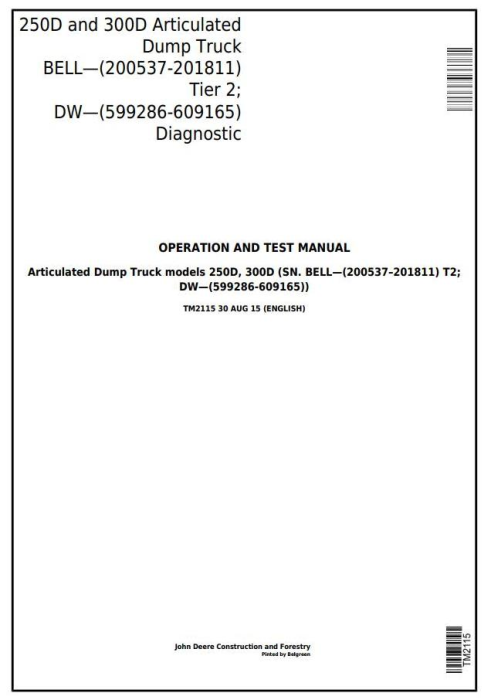 First Additional product image for - John Deere 250D,300D Articulated Dump Truck (BELL, DW) Diagnostic and Test Service Manual (TM2115)