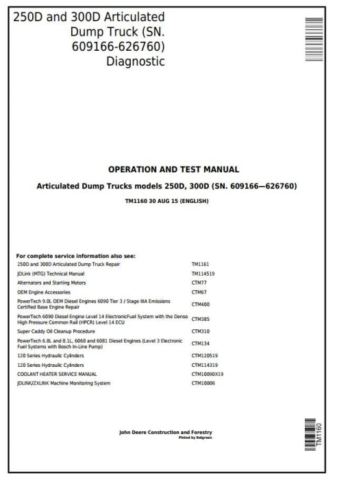 First Additional product image for - John Deere 250D and 300D Articulated Dump Truck (SN.609166-626760) Diagnostic Service Manual (TM1160)
