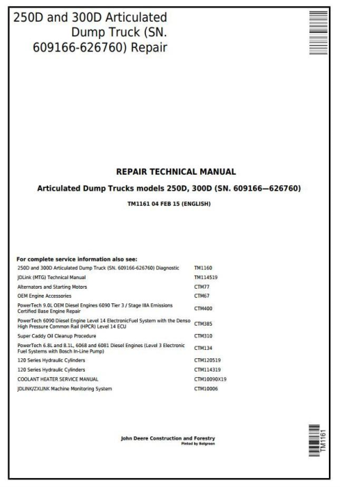 First Additional product image for - John Deere 250D,300D Articulated Dump Truck(SN.609166-626760)Service Repair Technical Manual(TM1161)