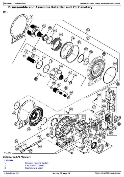 Second Additional product image for - John Deere 350D and 400D Articulated Dump Truck Service Repair Technical Manual (TM1941)