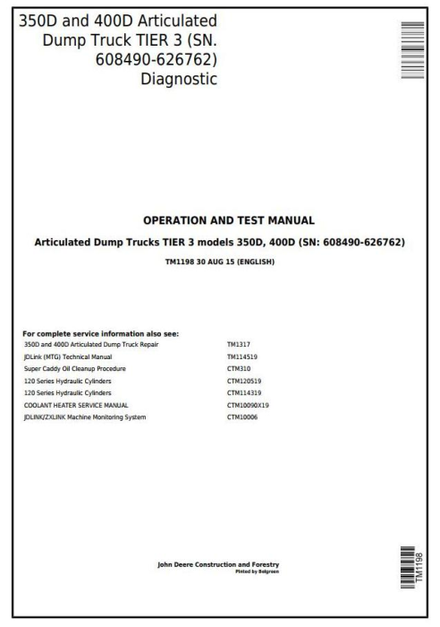 First Additional product image for - John Deere 350D, 400D Articulated Dump Truck (SN. 608490-626762) Diagnostic Service Manual (TM1198)