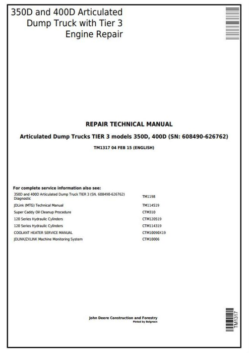 First Additional product image for - John Deere 350D,400D Articulated Dump Truck(SN:608490-626762)Service Repair Technical Manual(TM1317)